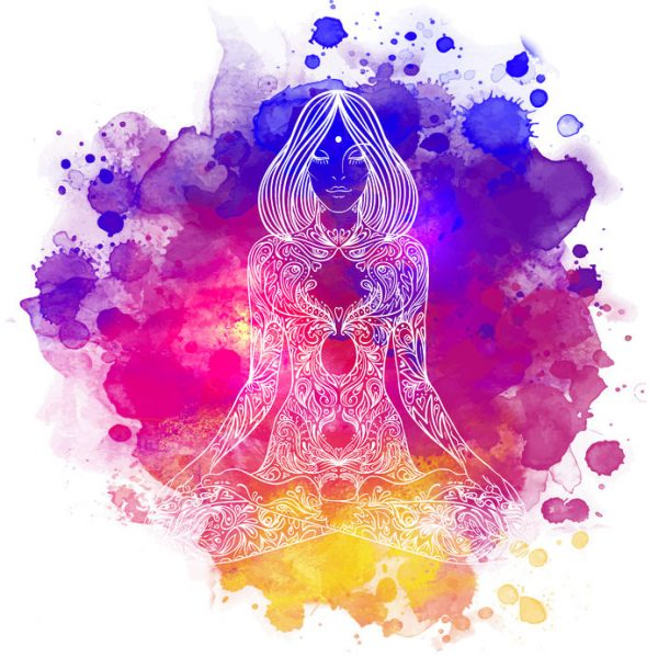 43573248 - woman ornate silhouette sitting in lotus pose. meditation concept. vector illustration. over colorful watercolor background.